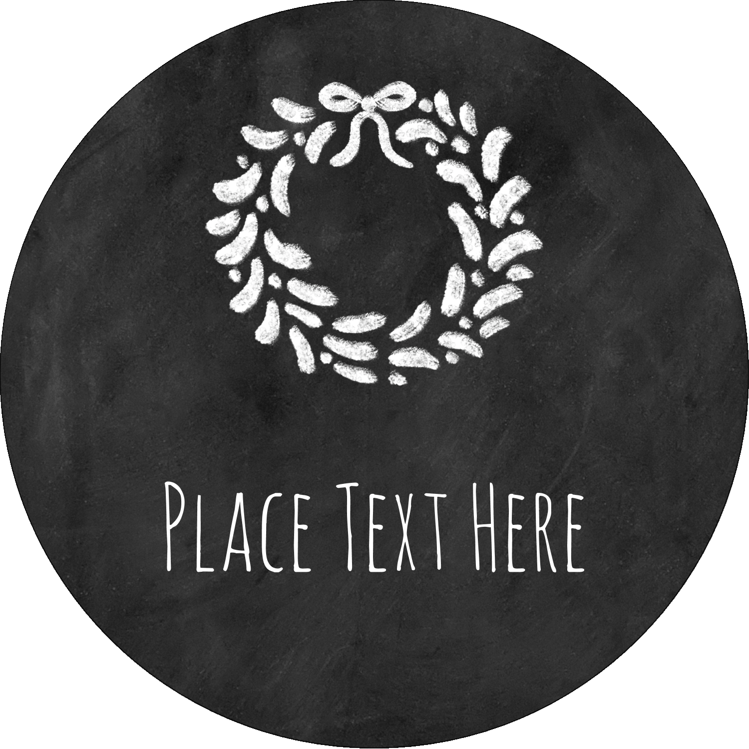 "2½"" Round Label - Chalkboard Wreath"
