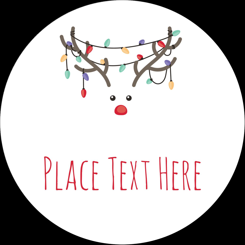 "2½"" Round Label - Reindeer Antler Lights"