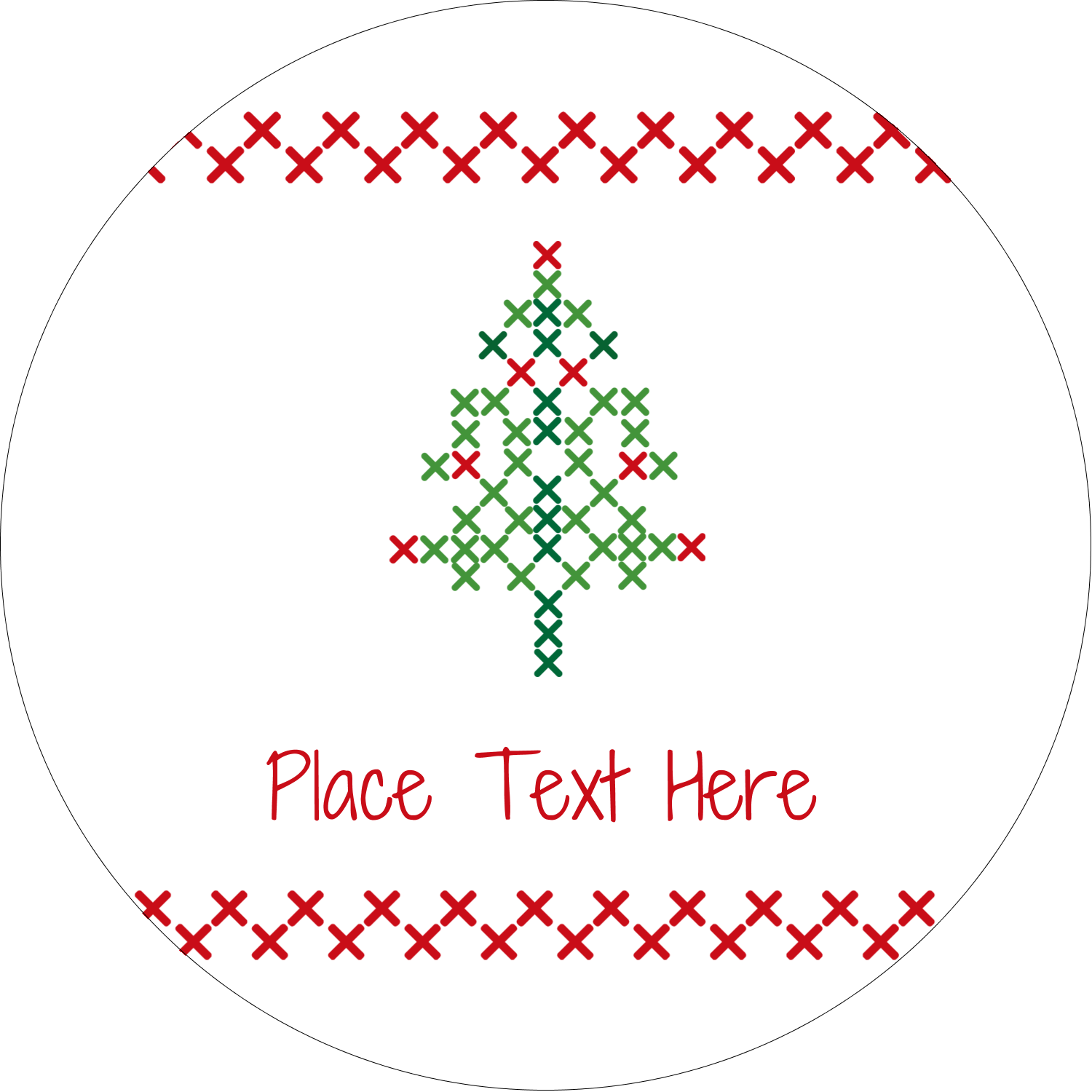 "2½"" Round Label - Cross Stitch Tree"