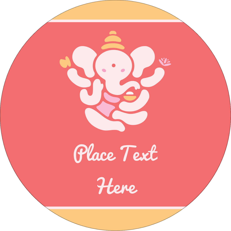 "2½"" Round Label - Diwali Ganesha"