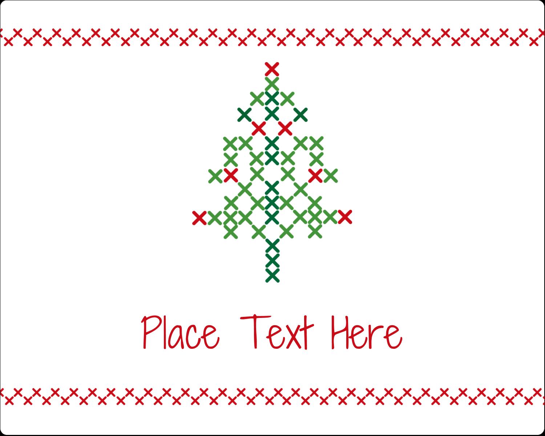 "3"" x 3¾"" Rectangular Label - Cross Stitch Tree"