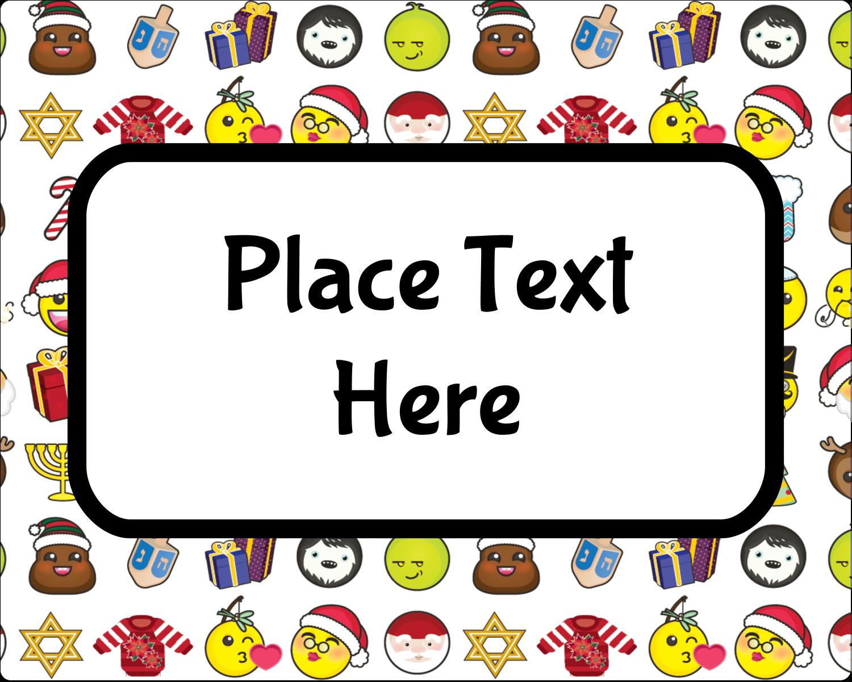 """3"""" x 3¾"""" Rectangular Label - Emoji Holiday"""