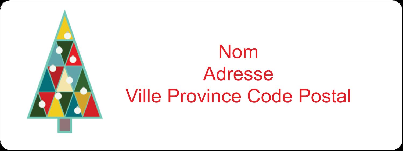 """⅔"""" x 1¾"""" Étiquettes D'Adresse - Sapin de Noël en kaléidoscope"""