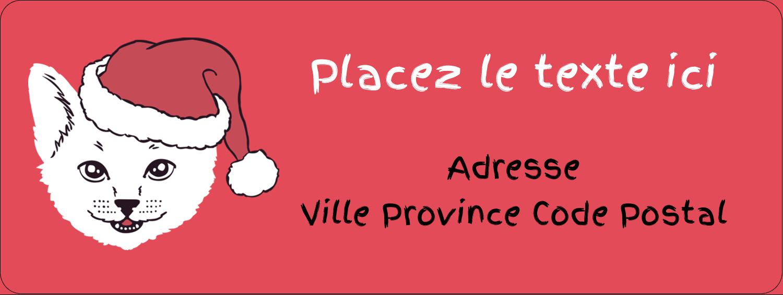 """1½"""" x 4"""" Étiquettes D'Adresse - Chat de Noël"""