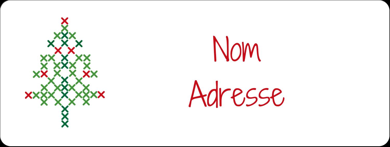 """1½"""" x 4"""" Étiquettes D'Adresse - Sapin en point de croix"""
