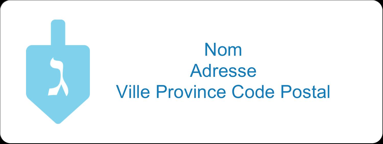 """1½"""" x 4"""" Étiquettes D'Adresse - Toupie de Hanoukka"""