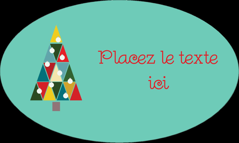 "1½"" x 2½"" Étiquettes ovales - Sapin de Noël en kaléidoscope"