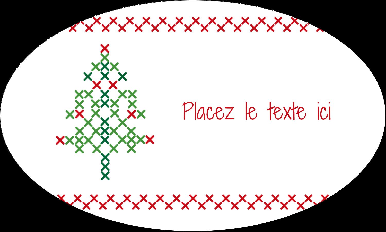 """1½"""" x 2½"""" Étiquettes ovales - Sapin en point de croix"""