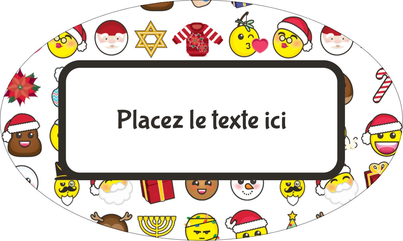 """1½"""" x 1½"""" Étiquettes carrées - Émojis des Fêtes"""