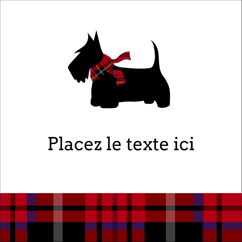 """2"""" x 2"""" Étiquettes carrées - Terrier écossais"""