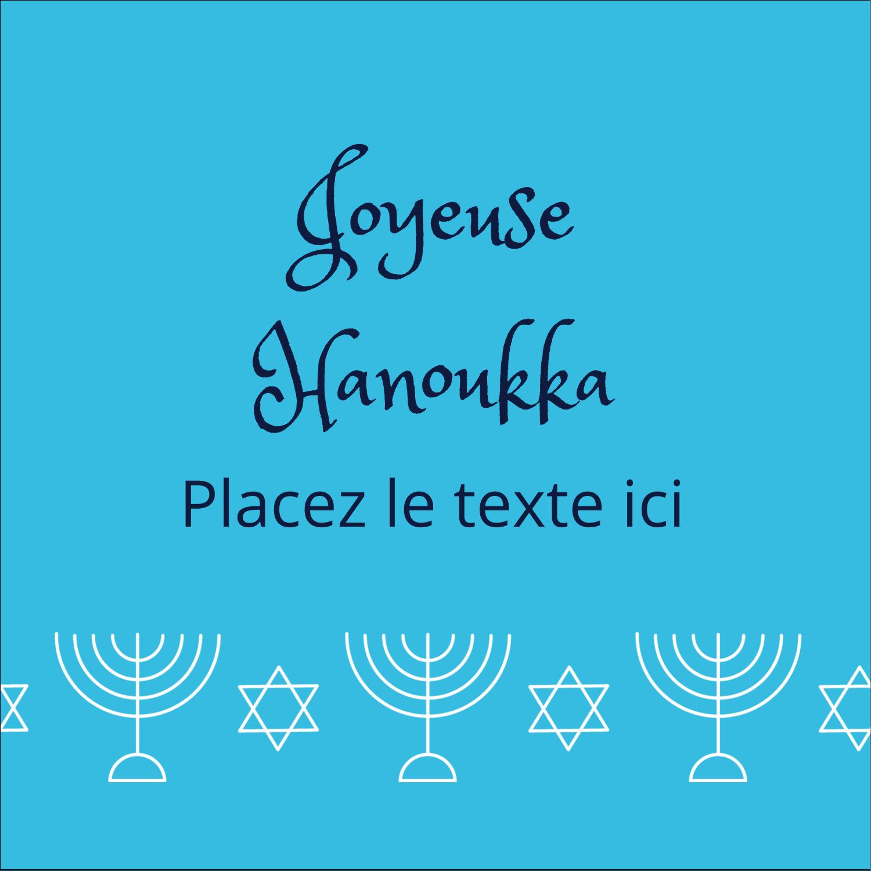 """2"""" x 2"""" Étiquettes carrées - Chandelier de Hanoukka"""