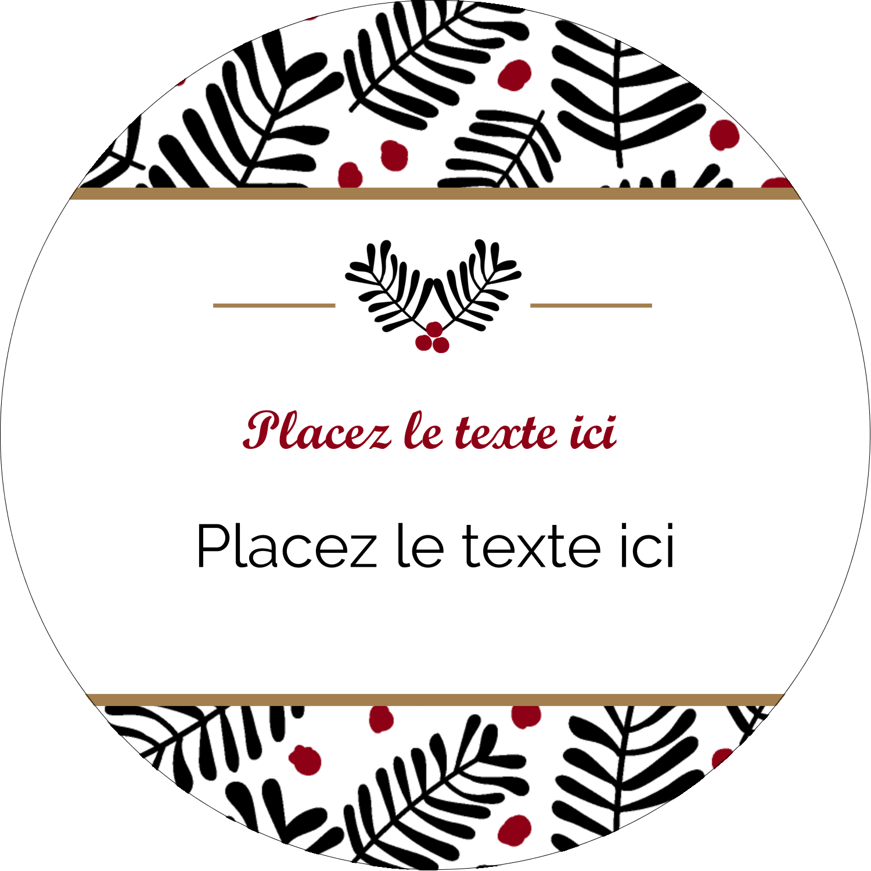 """2½"""" Diameter Étiquettes rondes - Fleurs de Noël"""