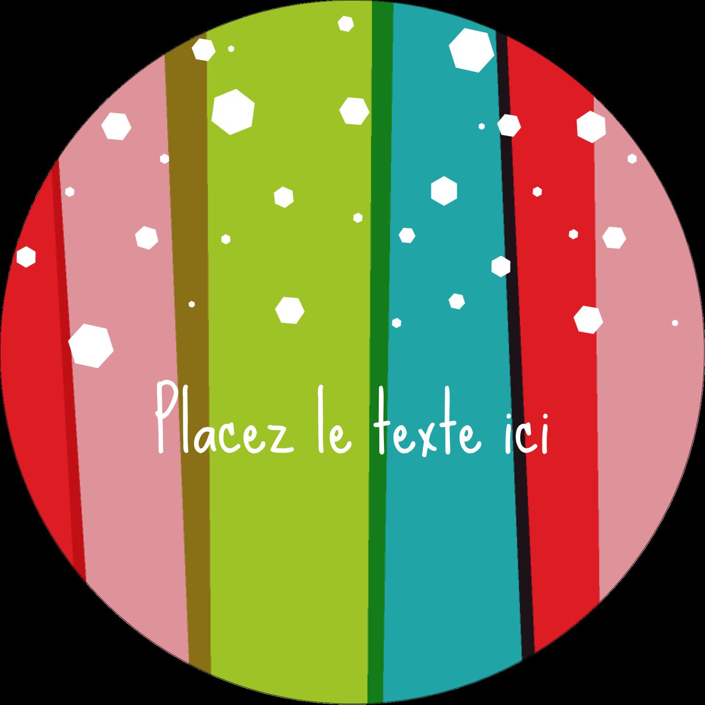 """2½"""" Diameter Étiquettes rondes - Rayures de Noël rétro"""