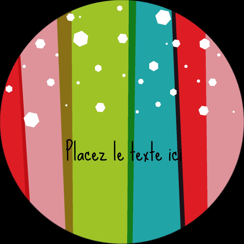 """3"""" x 2¼"""" Étiquettes arrondies - Rayures de Noël rétro"""
