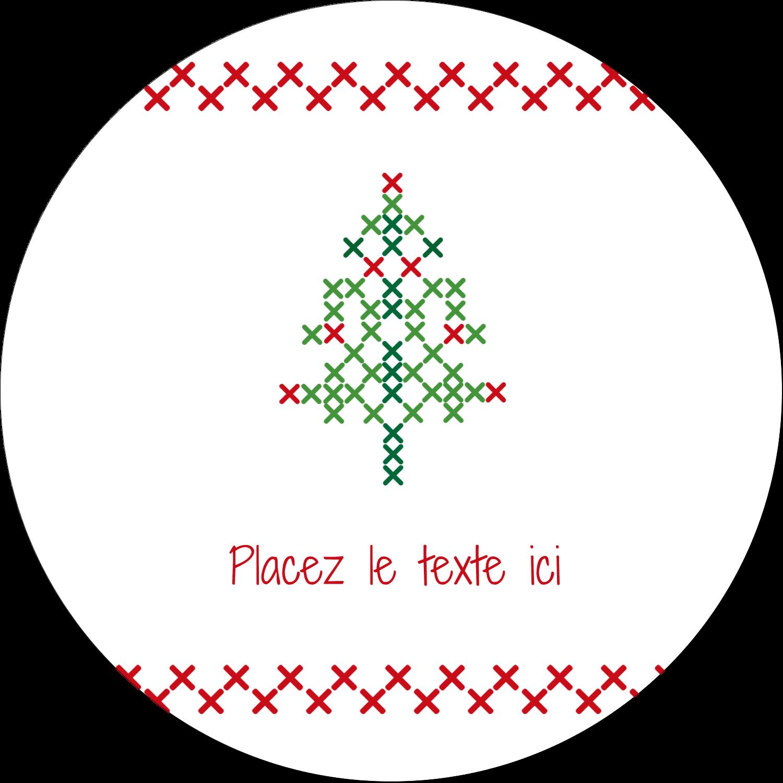 """2½"""" Diameter Étiquettes rondes - Sapin en point de croix"""