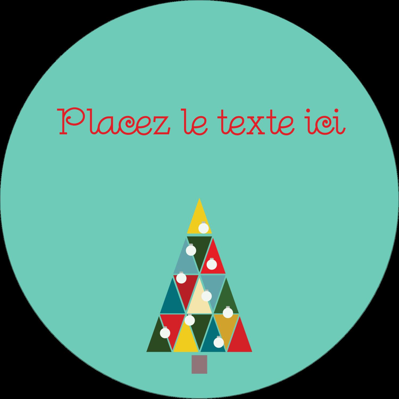 "2½"" Diameter Étiquettes rondes - Sapin de Noël en kaléidoscope"