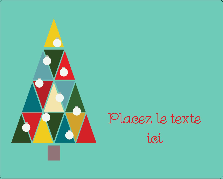 "3"" x 3¾"" Étiquettes rectangulaires  - Sapin de Noël en kaléidoscope"