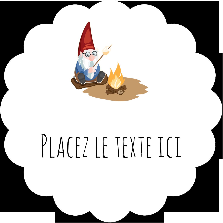 """2½"""" Diameter Étiquettes rondes - Gnome en camping"""