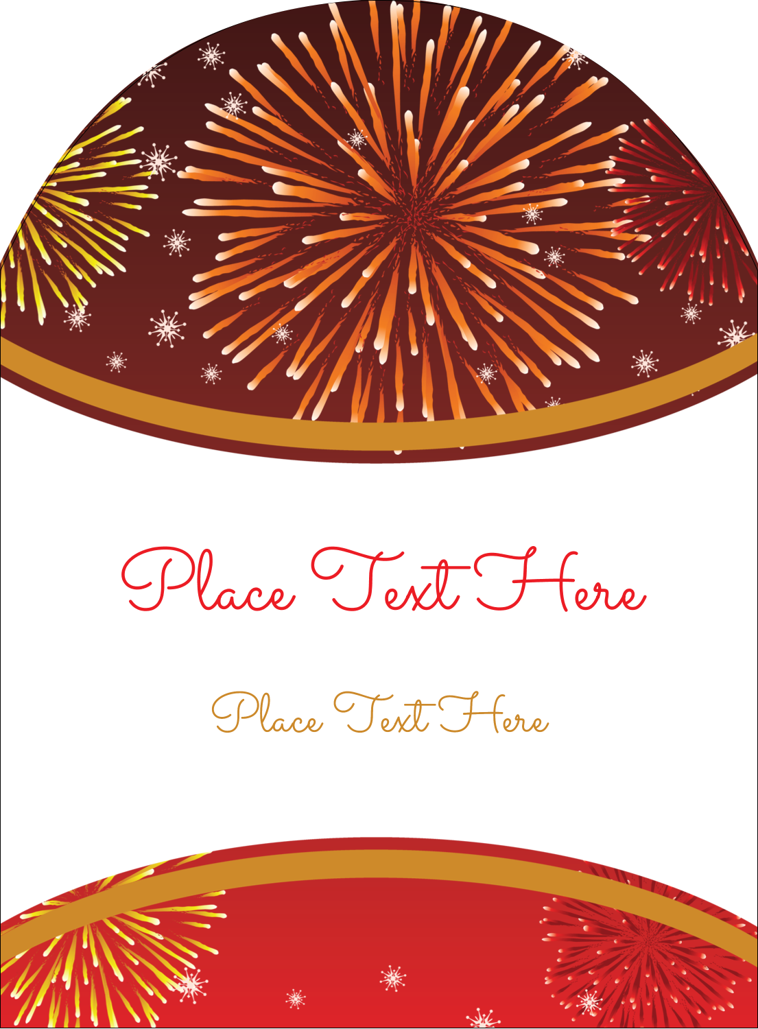 "4¾"" x 3½"" Arched Label - New Year Red Fireworks"