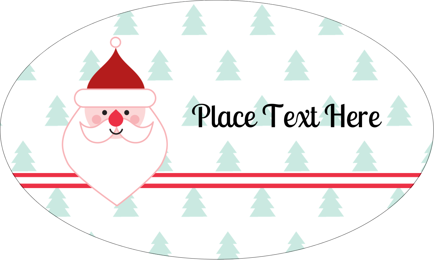 """1½"""" x 2½"""" Oval Glossy Label - Santa Claus"""