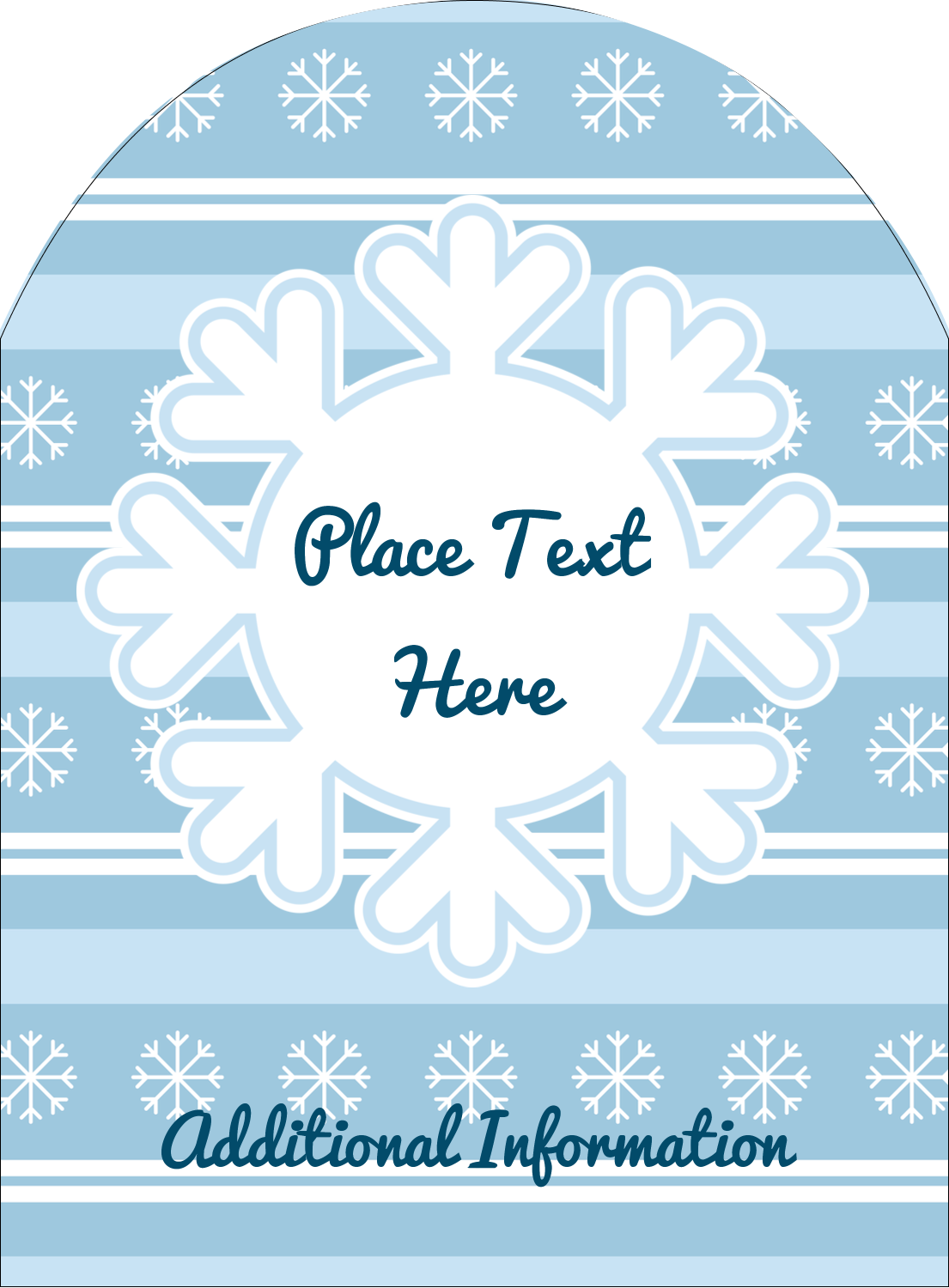 "4¾"" x 3½"" Arched Label - Blue Snowflake"
