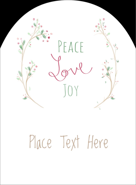 """4¾"""" x 3½"""" Arched Label - Peace Love Joy"""