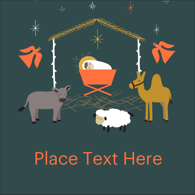 """2"""" x 2"""" Square Label - Nativity Scene Animals"""