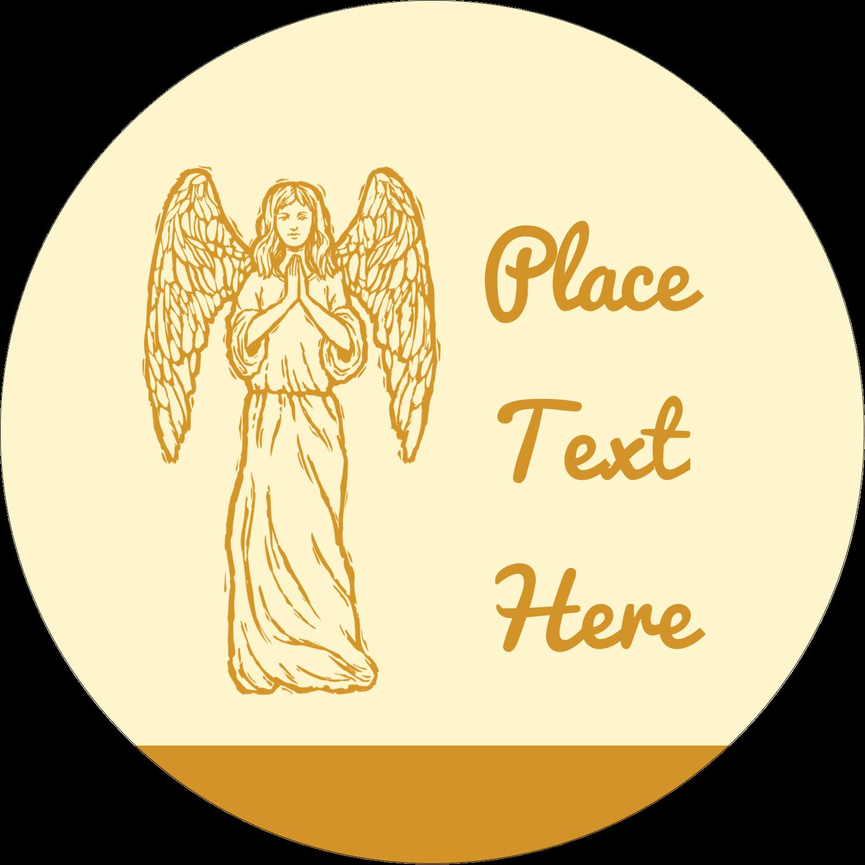 "2"" Round Label - Religious Woodcut"