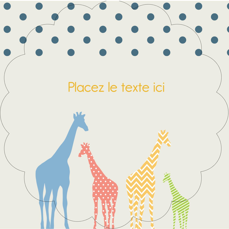 """2½"""" Diameter Étiquettes rondes - Girafe en fête"""