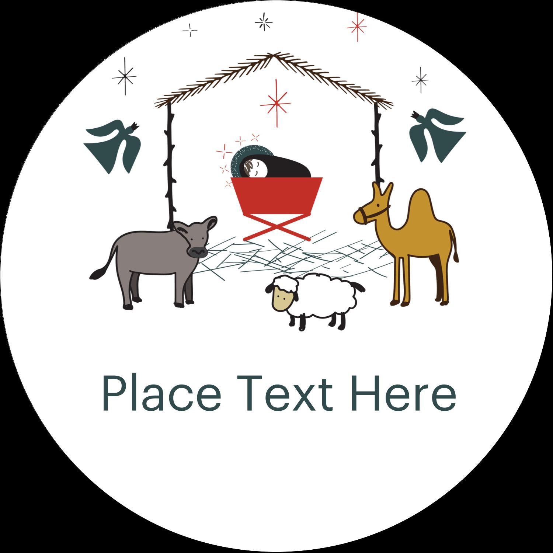 "2½"" Round Label - Nativity Scene Animals"