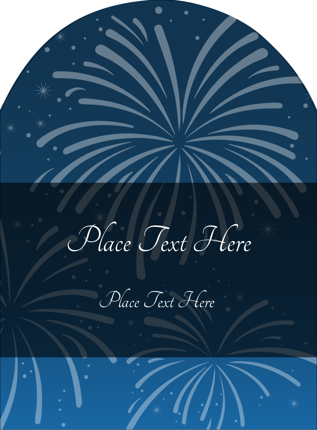 "4¾"" x 3½"" Arched Label - New Year Blue Fireworks"