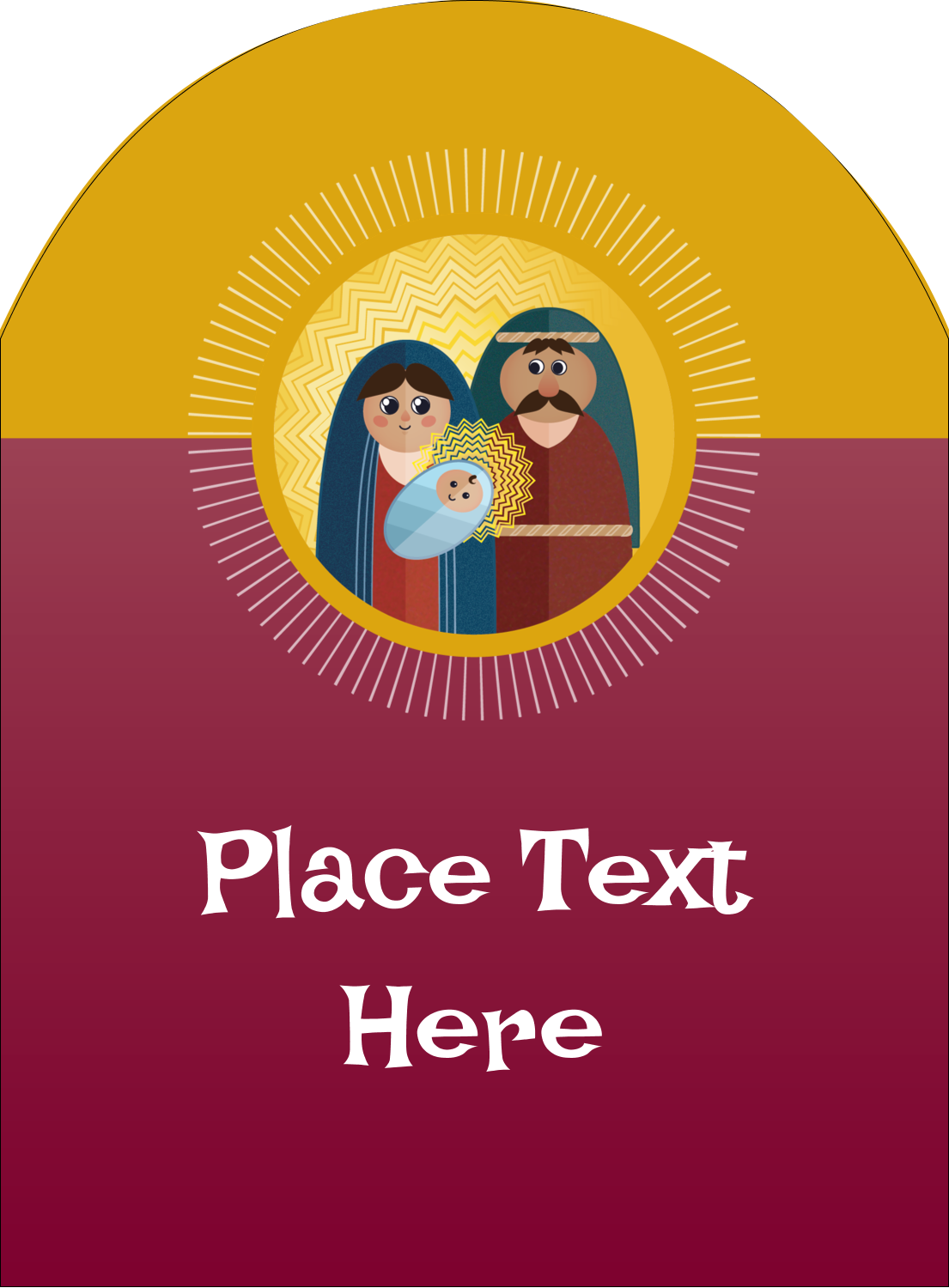 "4¾"" x 3½"" Arched Label - Baby Jesus"