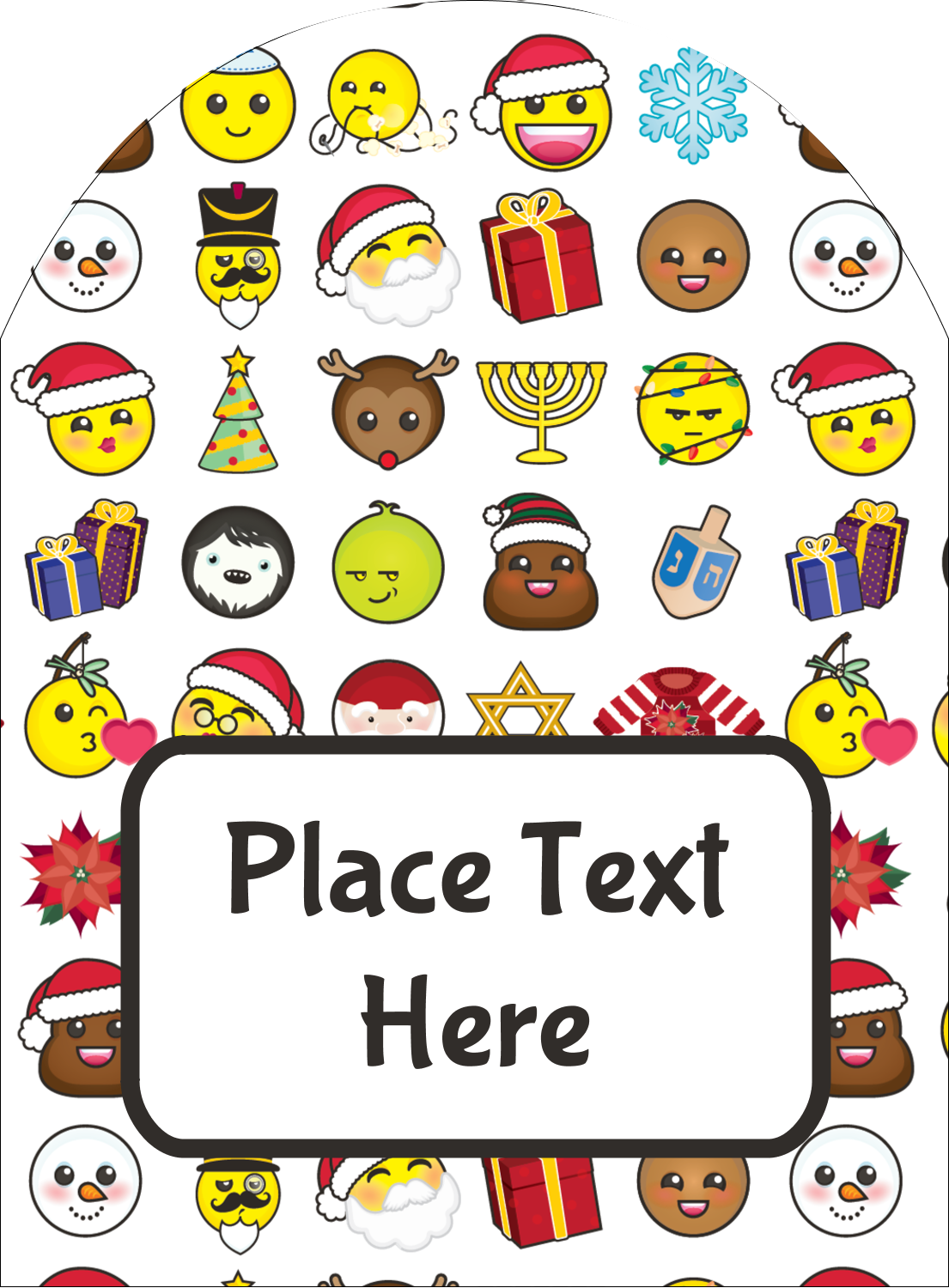 "4¾"" x 3½"" Arched Label - Emoji Holiday"