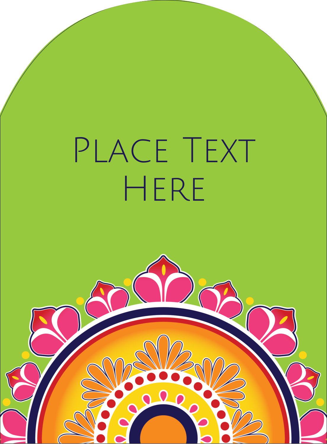 "4¾"" x 3½"" Arched Label - Diwali Rangoli"