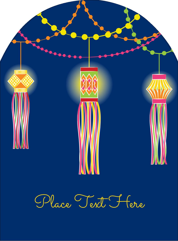 """4¾"""" x 3½"""" Arched Label - Diwali Lanterns"""