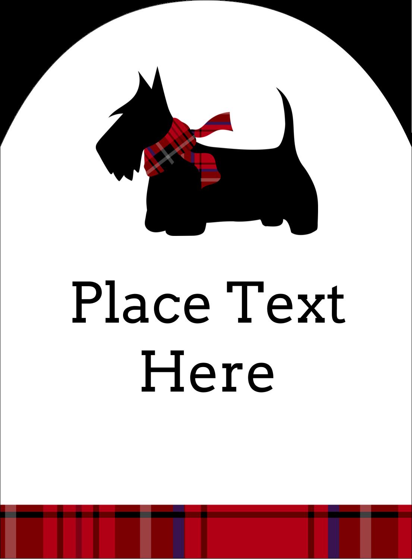 "4¾"" x 3½"" Arched Label - Scottie Dog"