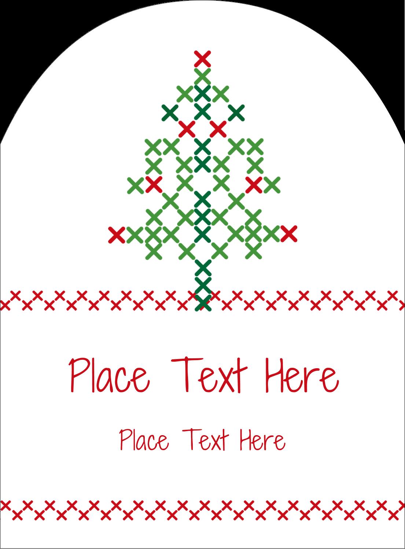 "4¾"" x 3½"" Arched Label - Cross Stitch Tree"