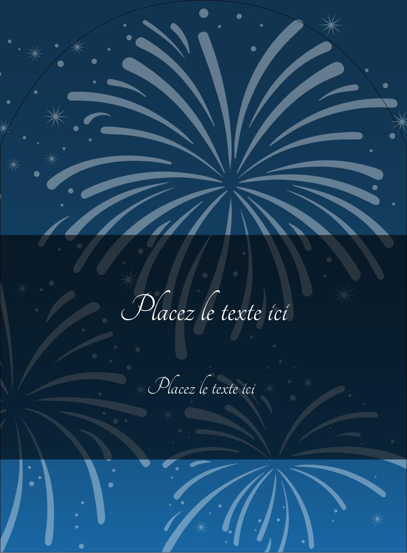 """4¾"""" x 3½"""" Étiquettes rectangulaires - Feux d'artifice bleus du Nouvel An"""