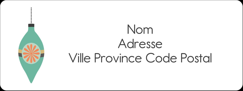"""1½"""" x 4"""" Étiquettes D'Adresse - Motif de décorations"""