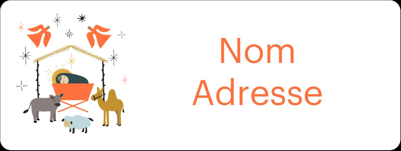 """1½"""" x 4"""" Étiquettes D'Adresse - Animaux de la crèche"""