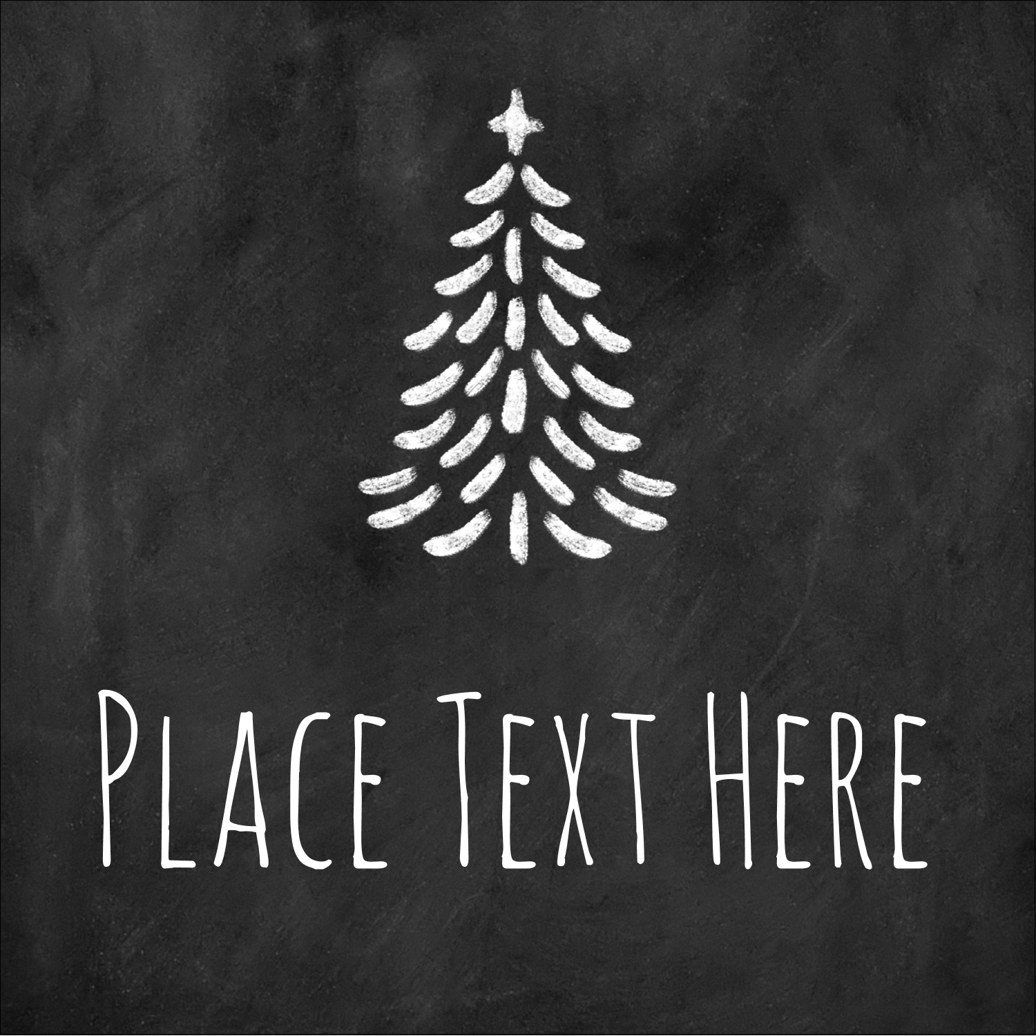 "1½"" x 1½"" Square Label - Chalkboard Tree"