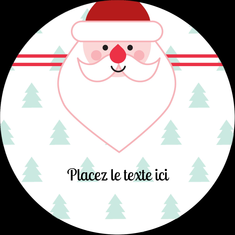 """2½"""" Diameter Étiquettes rondes - Père Noël"""