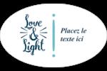 « Love and Light » écrit à la main Étiquettes carrées - gabarit prédéfini. <br/>Utilisez notre logiciel Avery Design & Print Online pour personnaliser facilement la conception.
