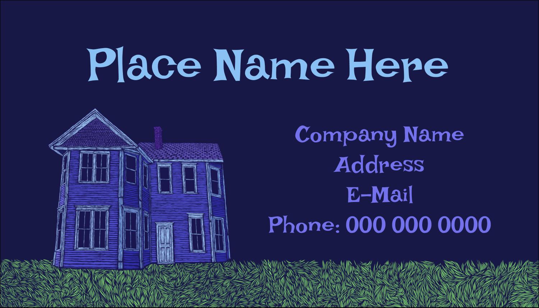 "2"" x 3½"" Business Card - Halloween Haunted House Chalk"