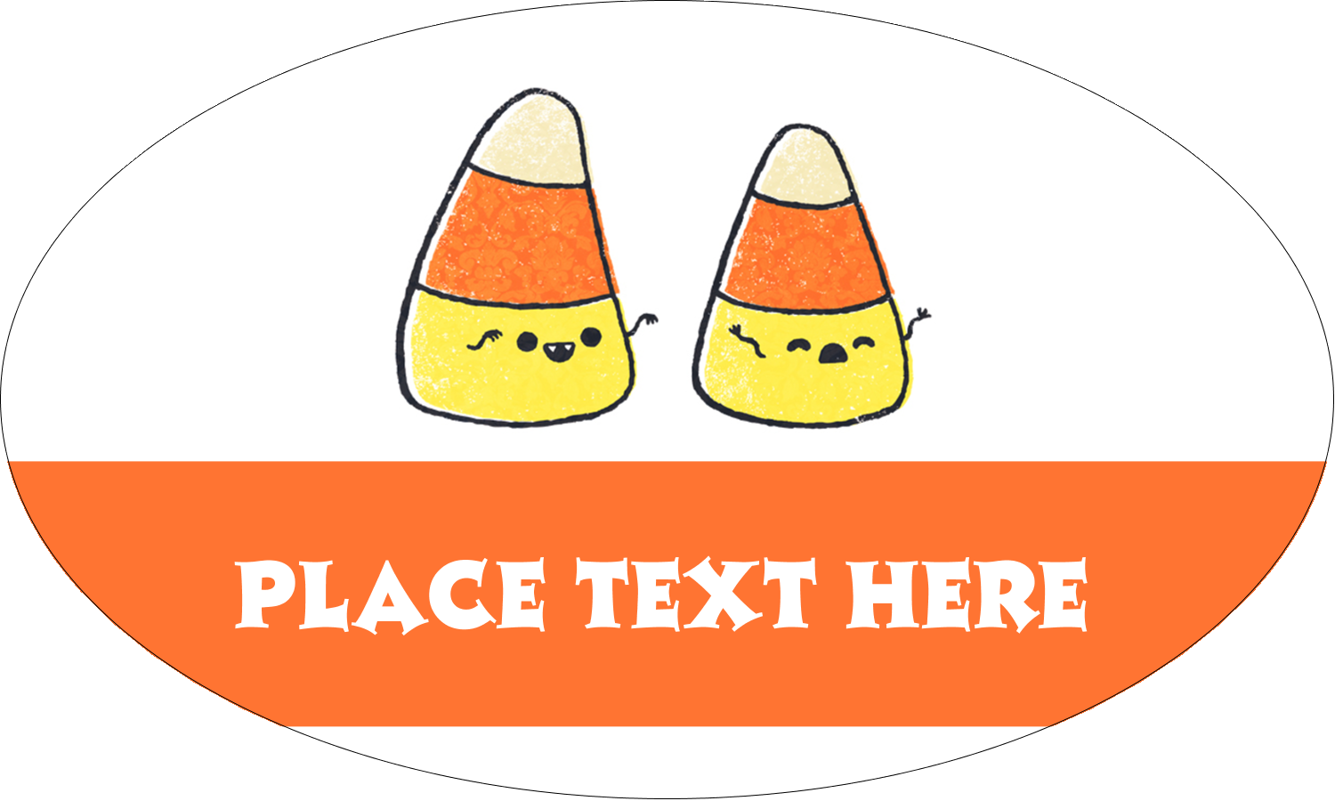 """1½"""" x 2½"""" Oval Glossy Label - Halloween Candy Corn"""