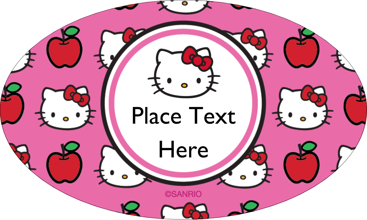 "1½"" x 2½"" Oval Glossy Label - Hello Kitty Loves Apples!"