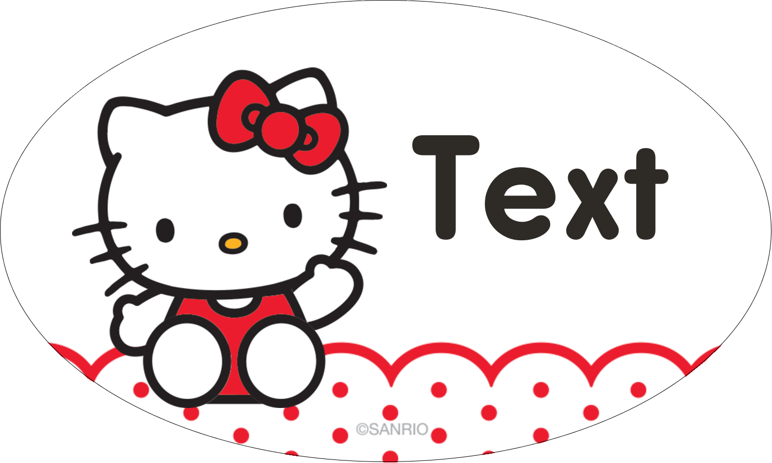 "1½"" x 2½"" Oval Glossy Label - Hello Kitty Waving"
