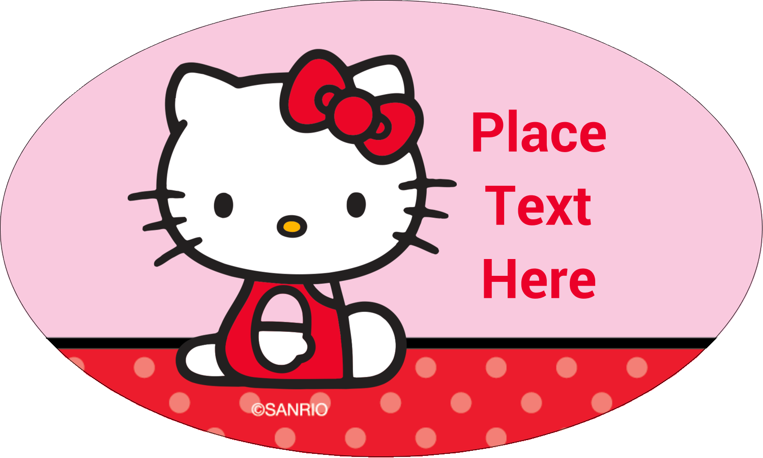 "1½"" x 2½"" Oval Glossy Label - Supercute Hello Kitty"