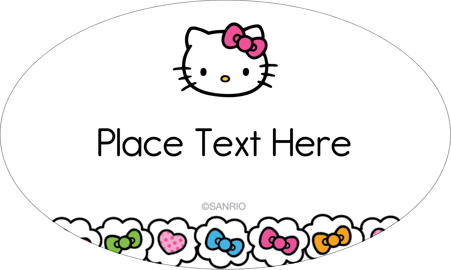 """1½"""" x 2½"""" Oval Glossy Label - Hello Kitty Hearts and Bows"""