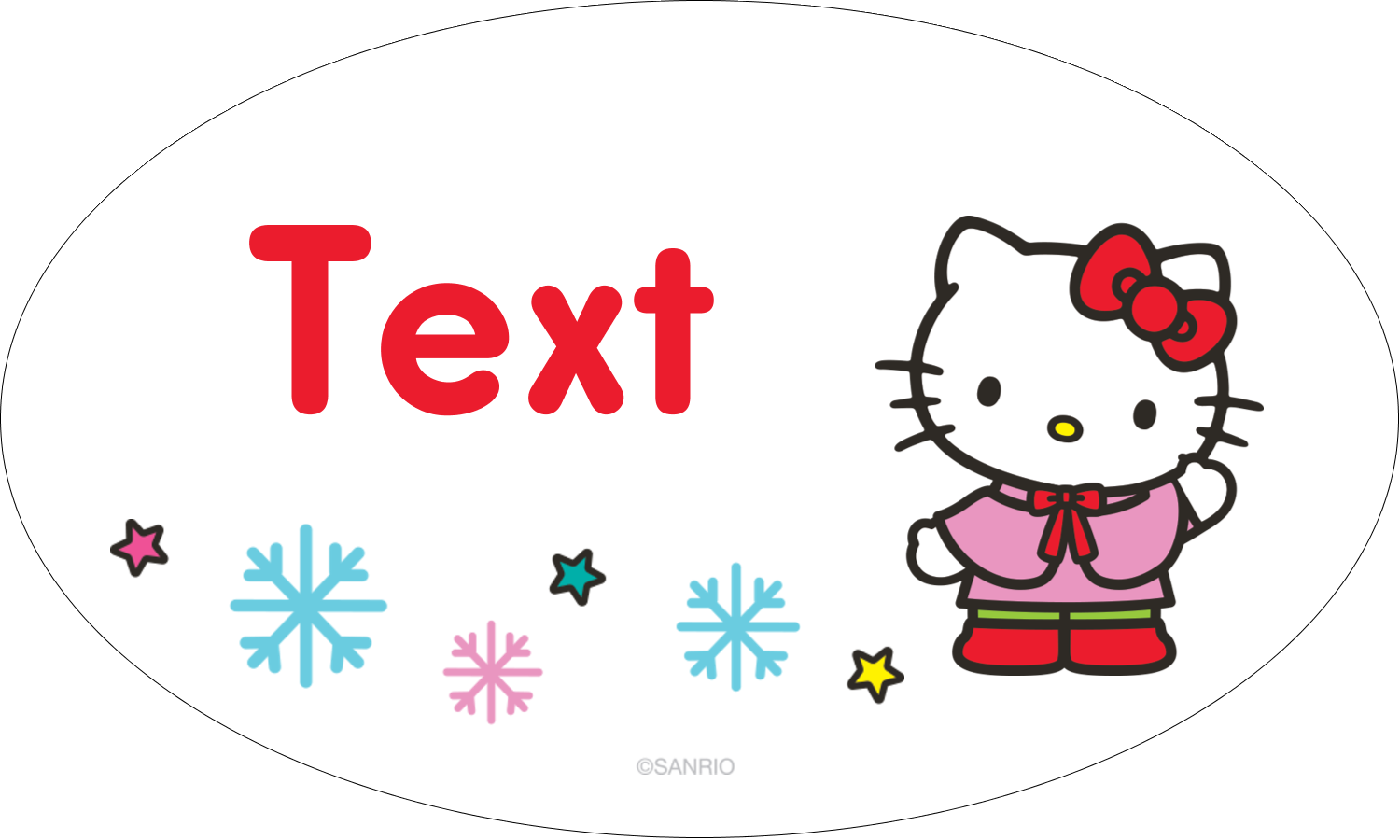 "1½"" x 2½"" Oval Glossy Label - Hello Kitty Holiday"